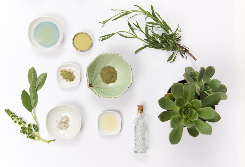 glinki kosmetyczne, półprodukty kosmetyczne i rośliny