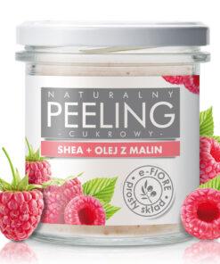 Naturalny peeling cukrowy do ciała MALINOWY na bazie masła shea z olejkiem i pestkami malin
